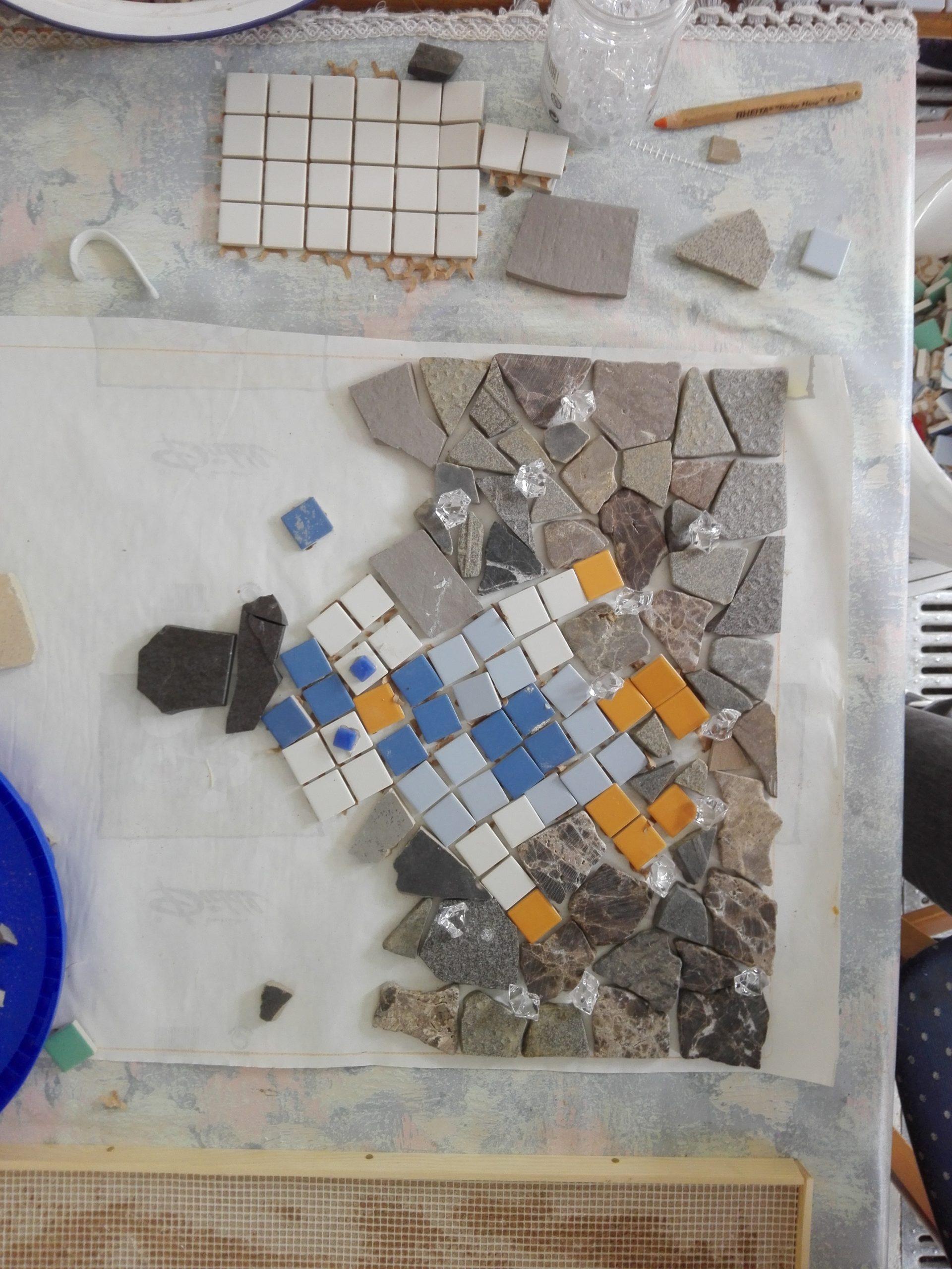 Mosaikbild in Arbeit